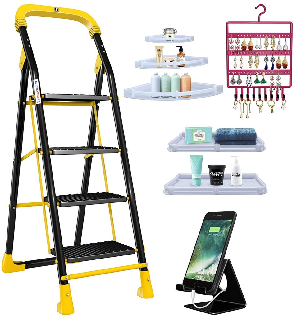 Trendy Cameo Special 4 Step Ladder Combo with Set of 3 Corner Shelves,